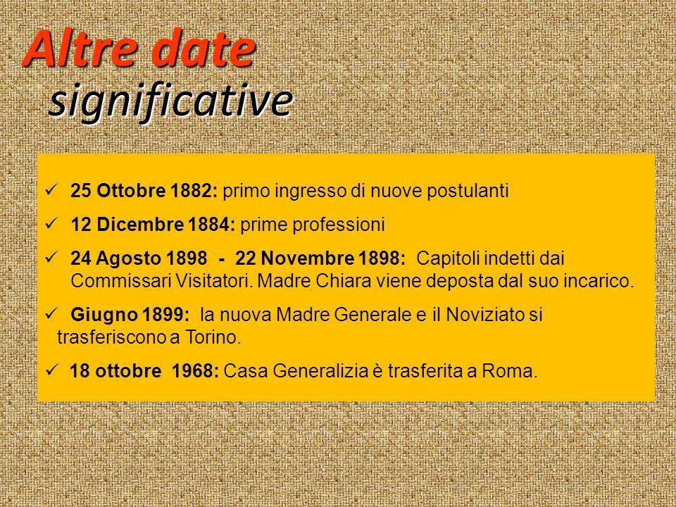 Altre date significative 25 Ottobre 1882: primo ingresso di nuove postulanti 12 Dicembre 1884: prime professioni 24 Agosto 1898 - 22 Novembre 1898: Ca