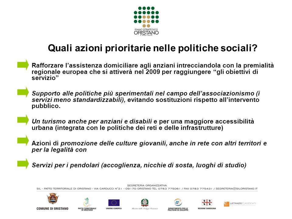 Quali azioni prioritarie nelle politiche sociali.