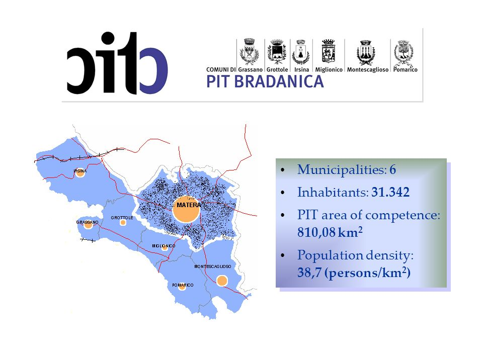 Municipalities: 6 Inhabitants: 31.342 PIT area of competence: 810,08 km 2 Population density: 38,7 (persons/km 2 ) Municipalities: 6 Inhabitants: 31.3