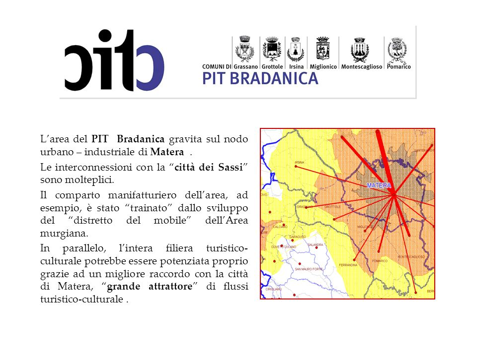 Larea del PIT Bradanica gravita sul nodo urbano – industriale di Matera. Le interconnessioni con la città dei Sassi sono molteplici. Il comparto manif