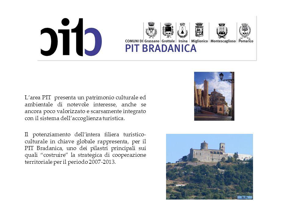 Larea PIT presenta un patrimonio culturale ed ambientale di notevole interesse, anche se ancora poco valorizzato e scarsamente integrato con il sistem