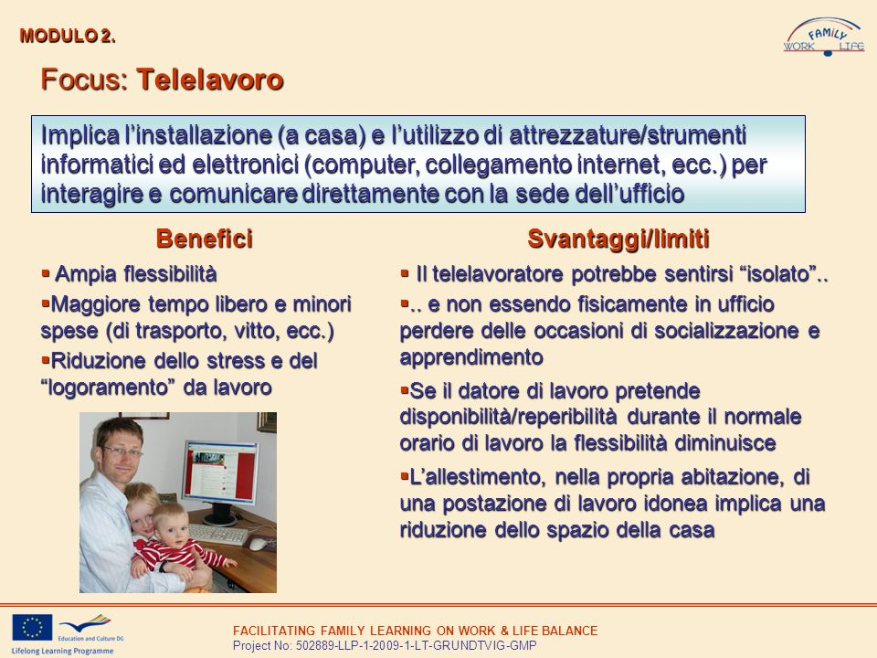 FACILITATING FAMILY LEARNING ON WORK & LIFE BALANCE Project No: 502889-LLP-1-2009-1-LT-GRUNDTVIG-GMP MODULO 2. Focus: Telelavoro Implica linstallazion