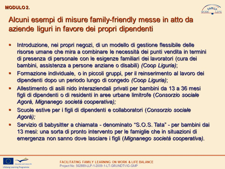 FACILITATING FAMILY LEARNING ON WORK & LIFE BALANCE Project No: 502889-LLP-1-2009-1-LT-GRUNDTVIG-GMP MODULO 2. Alcuni esempi di misure family-friendly