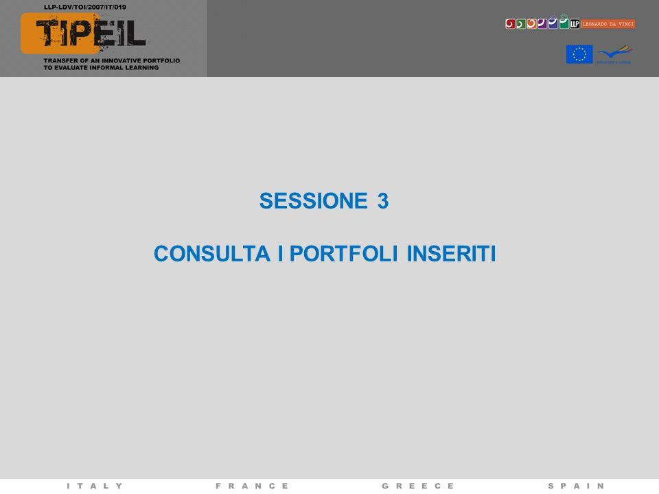 SESSIONE 3 CONSULTA I PORTFOLI INSERITI