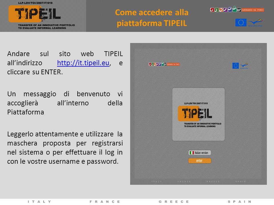 Come accedere alla piattaforma TIPEIL Andare sul sito web TIPEIL allindirizzo http://it.tipeil.eu, e cliccare su ENTER.http://it.tipeil.eu Un messaggio di benvenuto vi accoglierà allinterno della Piattaforma Leggerlo attentamente e utilizzare la maschera proposta per registrarsi nel sistema o per effettuare il log in con le vostre username e password.