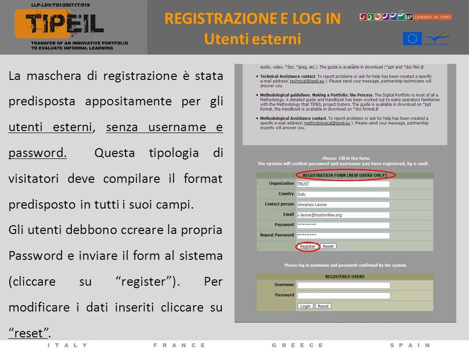 La maschera di registrazione è stata predisposta appositamente per gli utenti esterni, senza username e password.