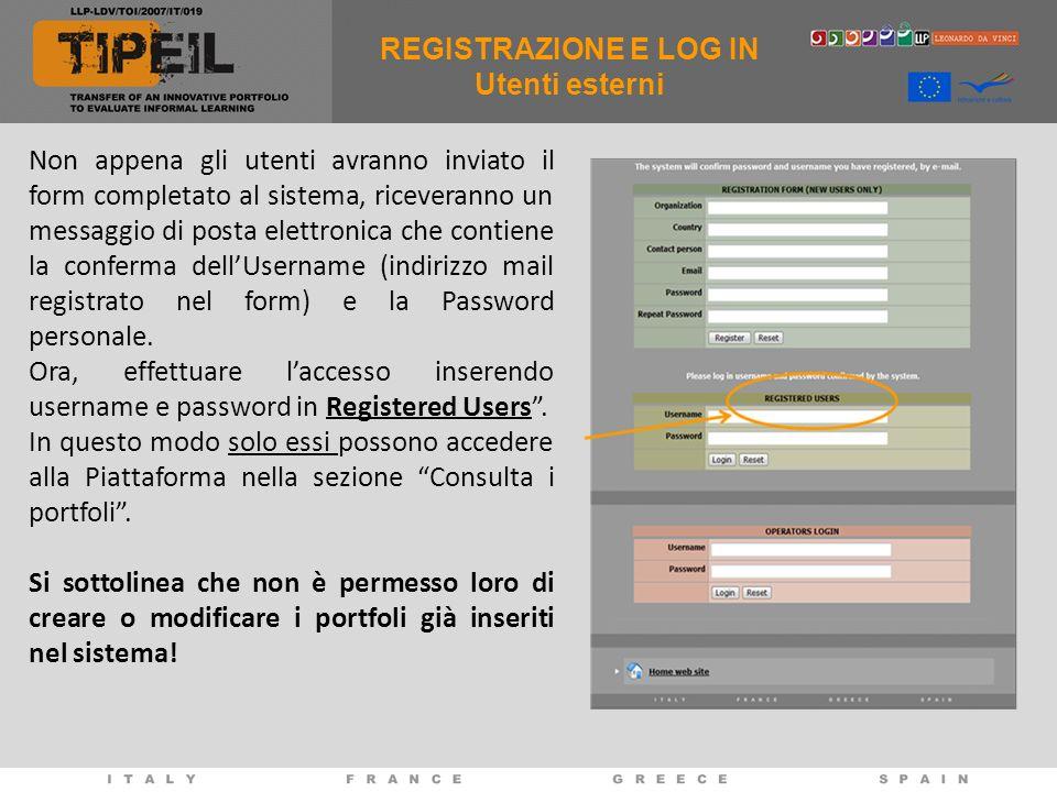 Non appena gli utenti avranno inviato il form completato al sistema, riceveranno un messaggio di posta elettronica che contiene la conferma dellUsername (indirizzo mail registrato nel form) e la Password personale.