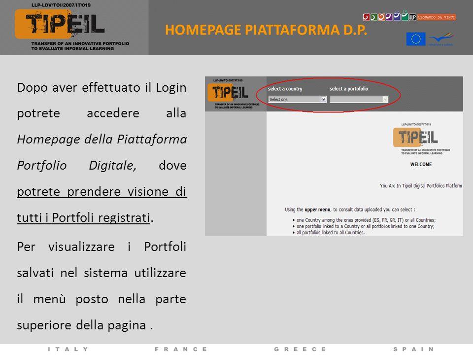 Dopo aver effettuato il Login potrete accedere alla Homepage della Piattaforma Portfolio Digitale, dove potrete prendere visione di tutti i Portfoli registrati.