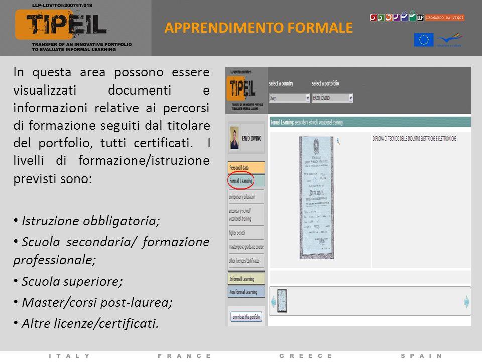 APPRENDIMENTO FORMALE In questa area possono essere visualizzati documenti e informazioni relative ai percorsi di formazione seguiti dal titolare del portfolio, tutti certificati.