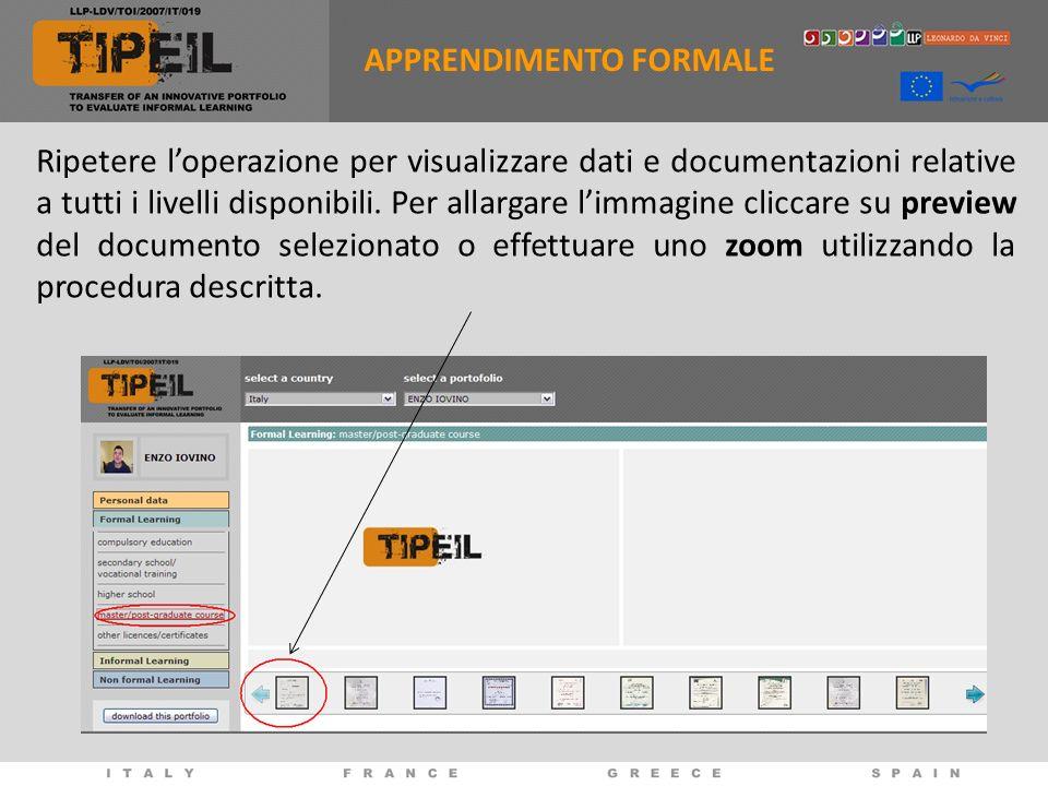 Ripetere loperazione per visualizzare dati e documentazioni relative a tutti i livelli disponibili.