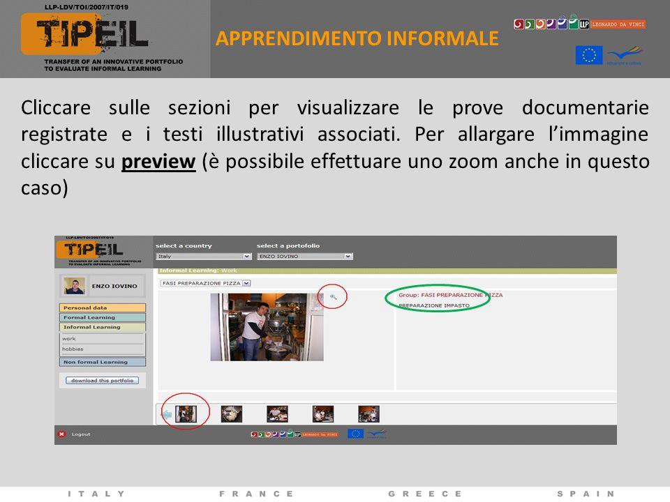 Cliccare sulle sezioni per visualizzare le prove documentarie registrate e i testi illustrativi associati.