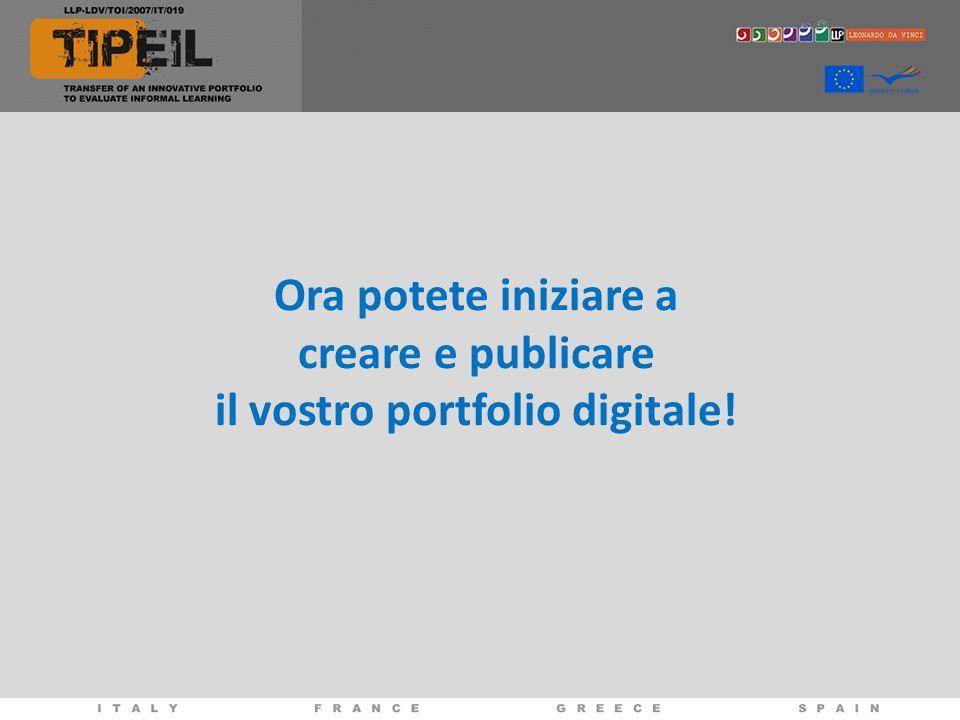 Ora potete iniziare a creare e publicare il vostro portfolio digitale!