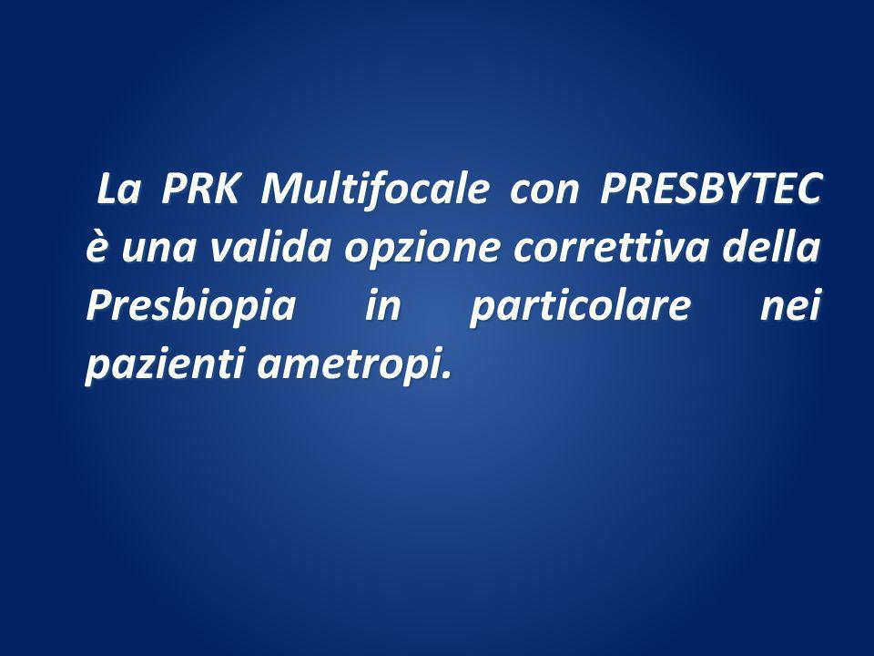 La PRK Multifocale con PRESBYTEC è una valida opzione correttiva della Presbiopia in particolare nei pazienti ametropi. La PRK Multifocale con PRESBYT
