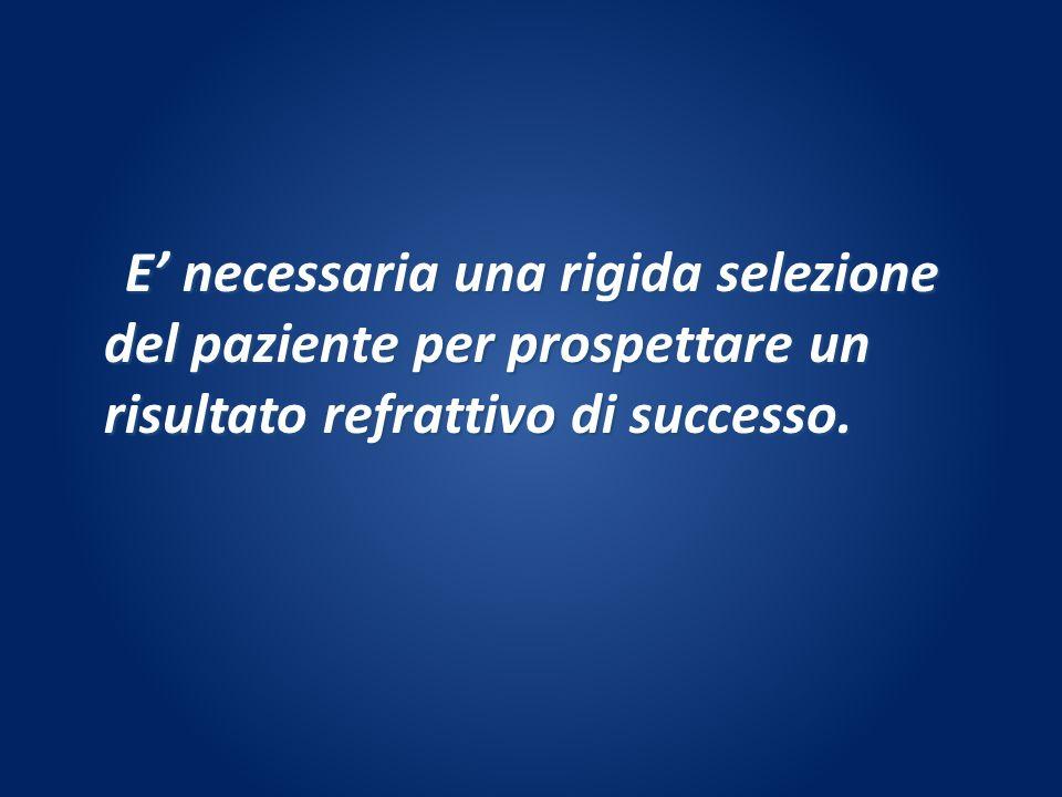 E necessaria una rigida selezione del paziente per prospettare un risultato refrattivo di successo. E necessaria una rigida selezione del paziente per