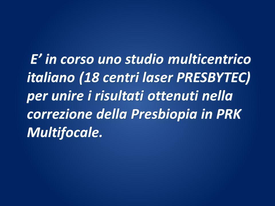 E in corso uno studio multicentrico italiano (18 centri laser PRESBYTEC) per unire i risultati ottenuti nella correzione della Presbiopia in PRK Multi