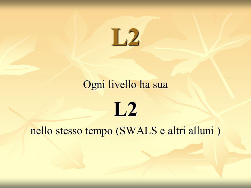 L2 Ogni livello ha sua L2 nello stesso tempo (SWALS e altri alluni )
