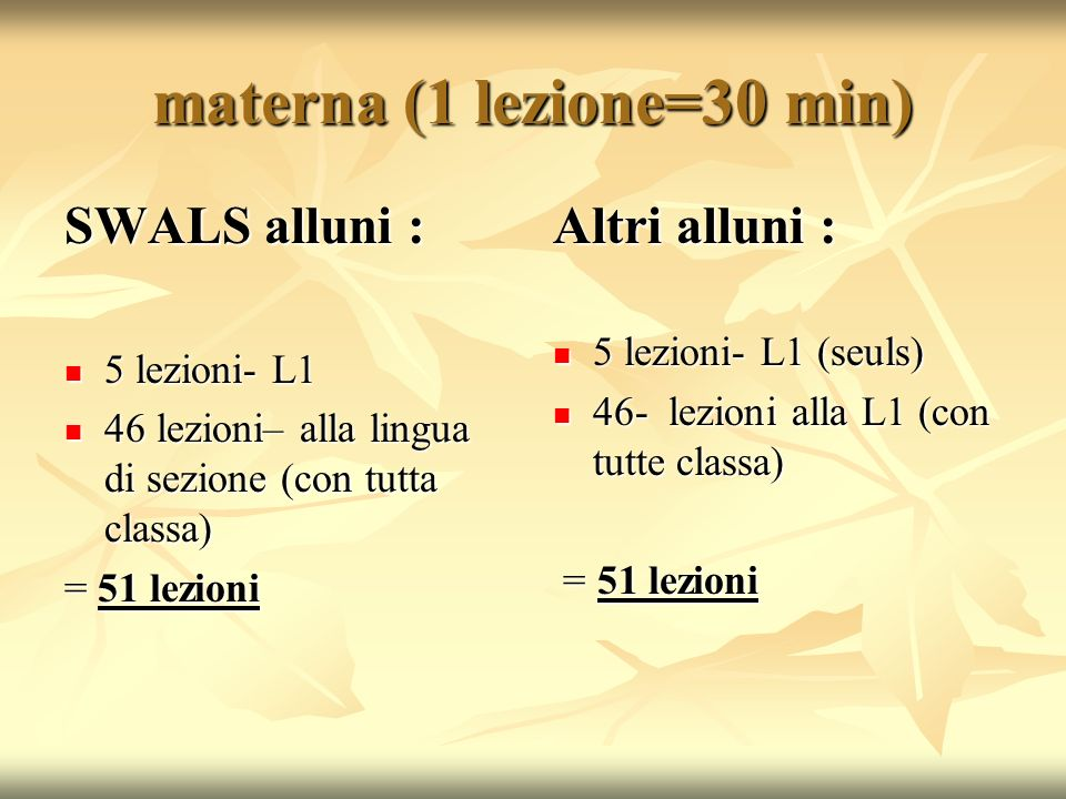 materna (1 lezione=30 min) SWALS alluni : 5 lezioni- L1 5 lezioni- L1 46 lezioni– alla lingua di sezione (con tutta classa) 46 lezioni– alla lingua di