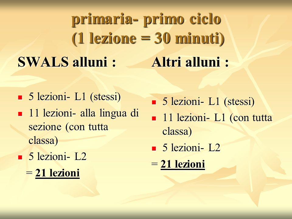 primaria- primo ciclo (1 lezione = 30 minuti) SWALS alluni : 5 lezioni- L1 (stessi) 5 lezioni- L1 (stessi) 11 lezioni- alla lingua di sezione (con tut