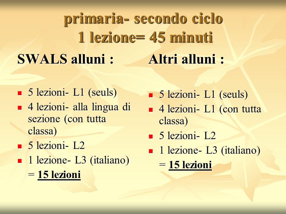 primaria- secondo ciclo 1 lezione= 45 minuti SWALS alluni : 5 lezioni- L1 (seuls) 5 lezioni- L1 (seuls) 4 lezioni- alla lingua di sezione (con tutta c