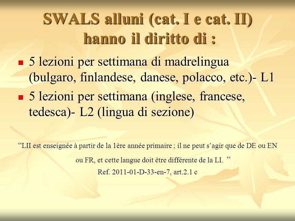 SWALS alluni (cat. I e cat. II) hanno il diritto di : 5 lezioni per settimana di madrelingua (bulgaro, finlandese, danese, polacco, etc.)- L1 5 lezion