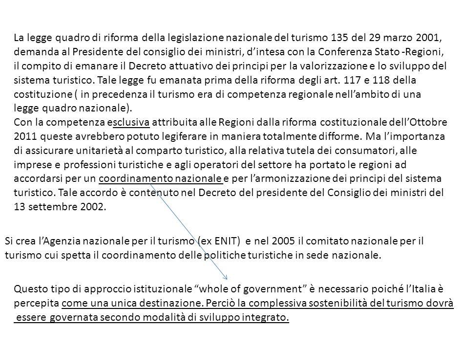 La legge quadro di riforma della legislazione nazionale del turismo 135 del 29 marzo 2001, demanda al Presidente del consiglio dei ministri, dintesa c