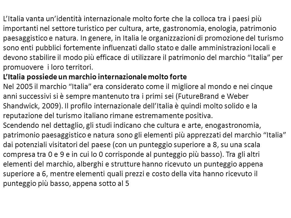 LItalia vanta unidentità internazionale molto forte che la colloca tra i paesi più importanti nel settore turistico per cultura, arte, gastronomia, en