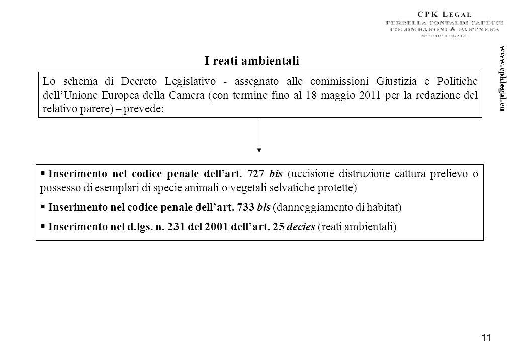 10 Ulteriori futuri sviluppi in tema di reati presupposto del d. lgs. n. 231/2001 La Direttiva 2008/99/CE (tutela penale dellambiente) La Direttiva 20
