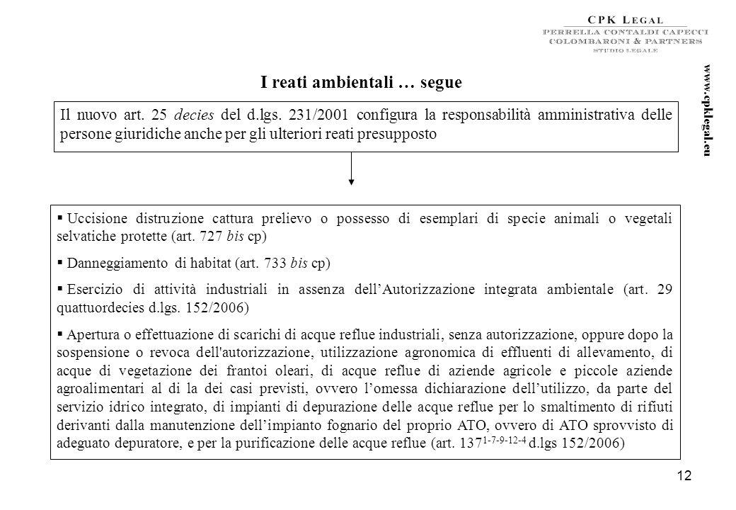 11 www.cpklegal.eu I reati ambientali Inserimento nel codice penale dellart. 727 bis (uccisione distruzione cattura prelievo o possesso di esemplari d