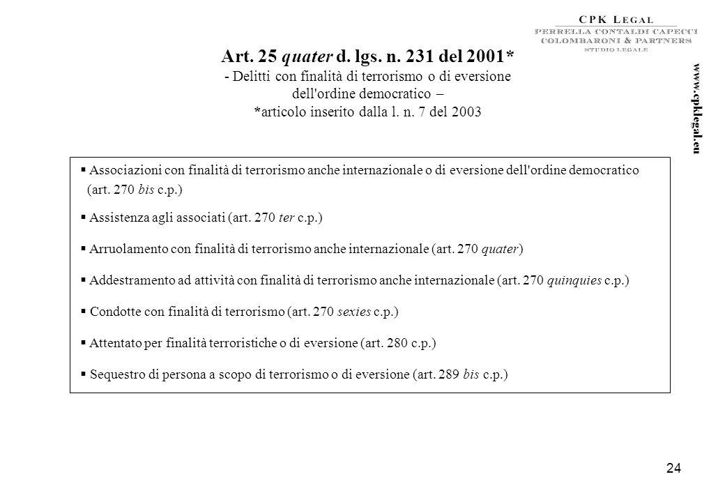 23 Art. 25 ter d. lgs. n. 231 del 2001* - Reati societari – *articolo inserito dalla l. n. 61 del 2002 e modificato, da ultimo, dalla l. n. 262 del 20