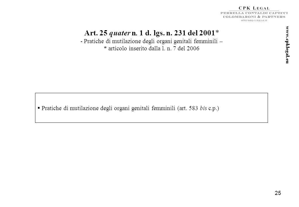 24 Art. 25 quater d. lgs. n. 231 del 2001* - Delitti con finalità di terrorismo o di eversione dell'ordine democratico – *articolo inserito dalla l. n