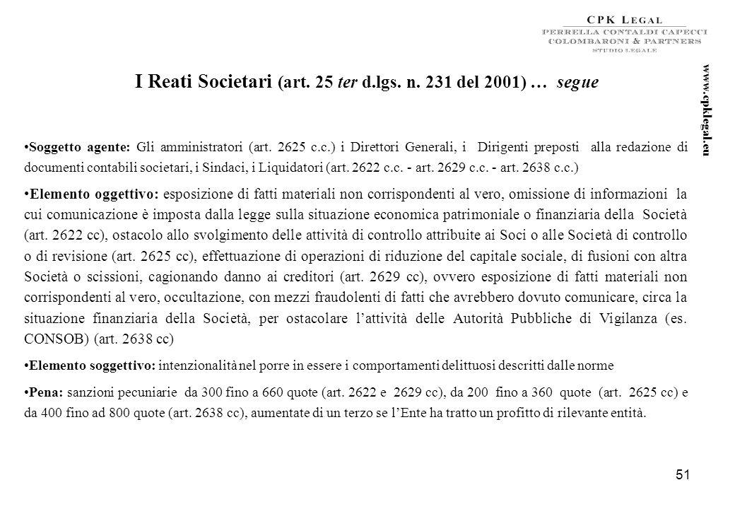 50 I Reati Societari (art. 25 ter d.lgs. n. 231 del 2001) … segue Gli amministratori […] di Società o enti e gli altri soggetti sottoposti per legge a