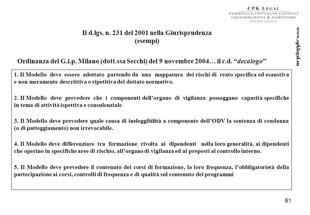60 LE SANZIONI INTERDITTIVE Interdizione dallesercizio dellattività (art. 9 2 lett. a del d.lgs. n. 231/2001 ) Sospensione o la revoca delle autorizza