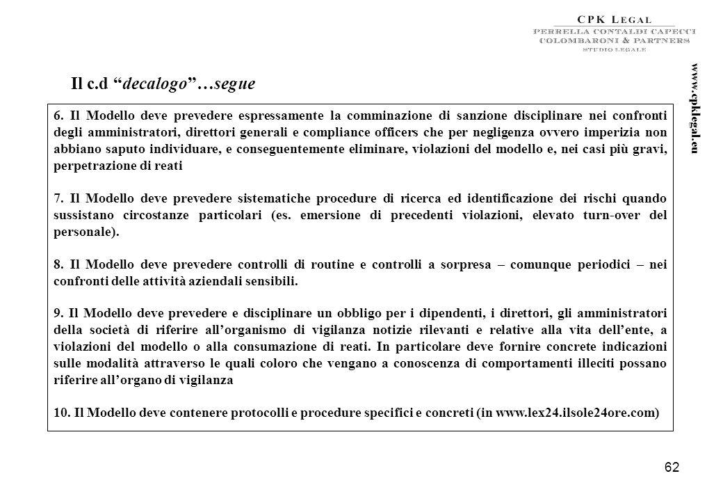 61 Il d.lgs. n. 231 del 2001 nella Giurisprudenza (esempi) 1. Il Modello deve essere adottato partendo da una mappatura dei rischi di reato specifica