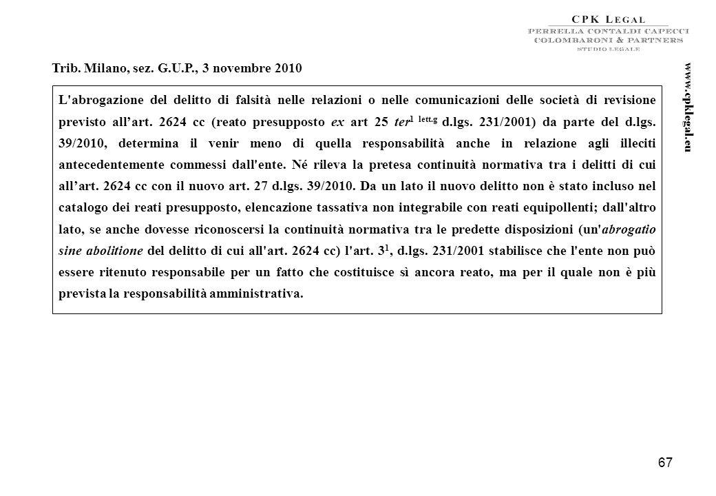 66 Cass. Pen. sez. II, n. 234 del 26 ottobre 2010 Il d.lgs. 231/2001 si applica ad enti dotati di personalità giuridica, società e associazioni anche