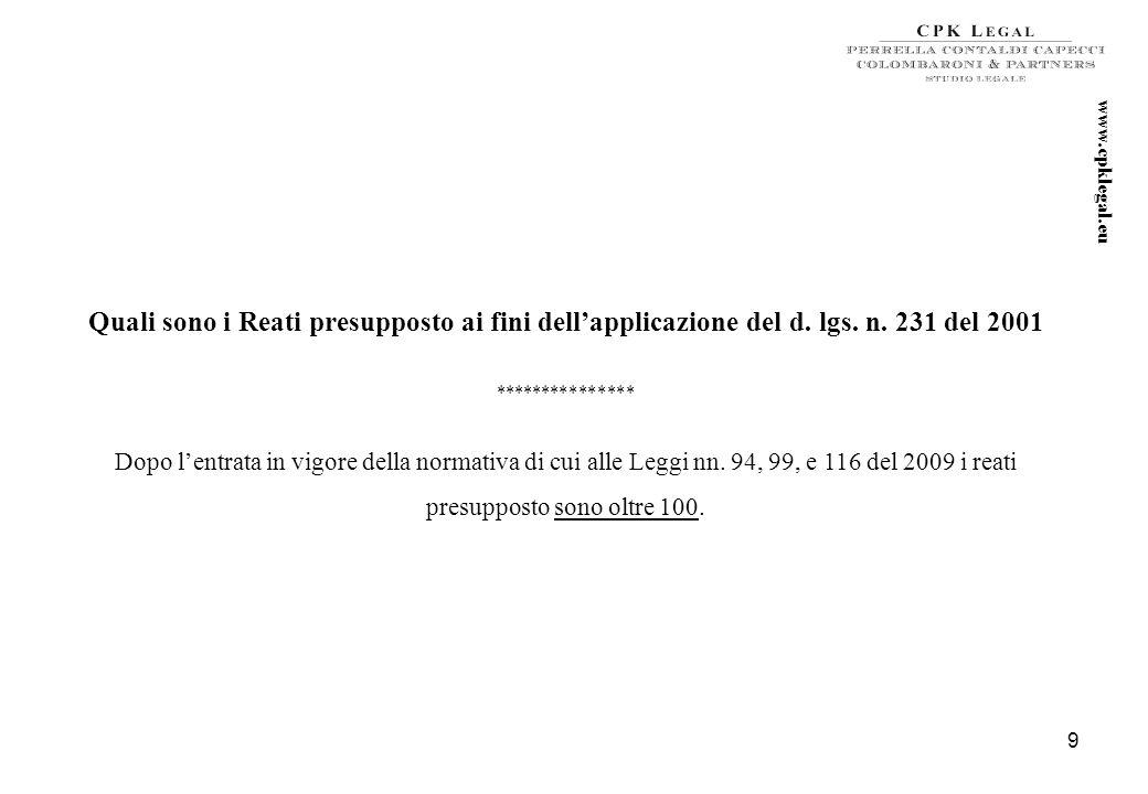 8 www.cpklegal.eu Novità previste dalla proposta di Legge Alfano Espressa qualificazione di Ente di piccole dimensioni: sono Enti di piccole dimension
