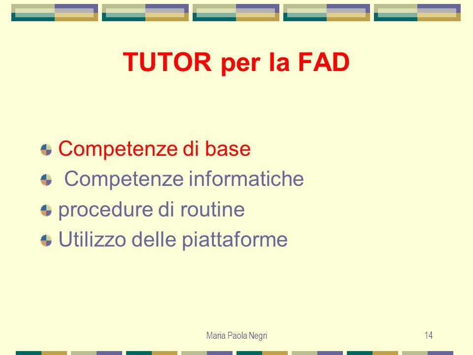 Maria Paola Negri14 TUTOR per la FAD Competenze di base Competenze informatiche procedure di routine Utilizzo delle piattaforme