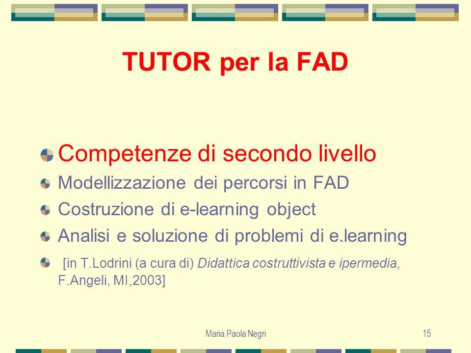 Maria Paola Negri15 TUTOR per la FAD Competenze di secondo livello Modellizzazione dei percorsi in FAD Costruzione di e-learning object Analisi e solu