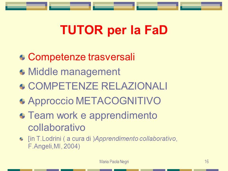 Maria Paola Negri16 TUTOR per la FaD Competenze trasversali Middle management COMPETENZE RELAZIONALI Approccio METACOGNITIVO Team work e apprendimento