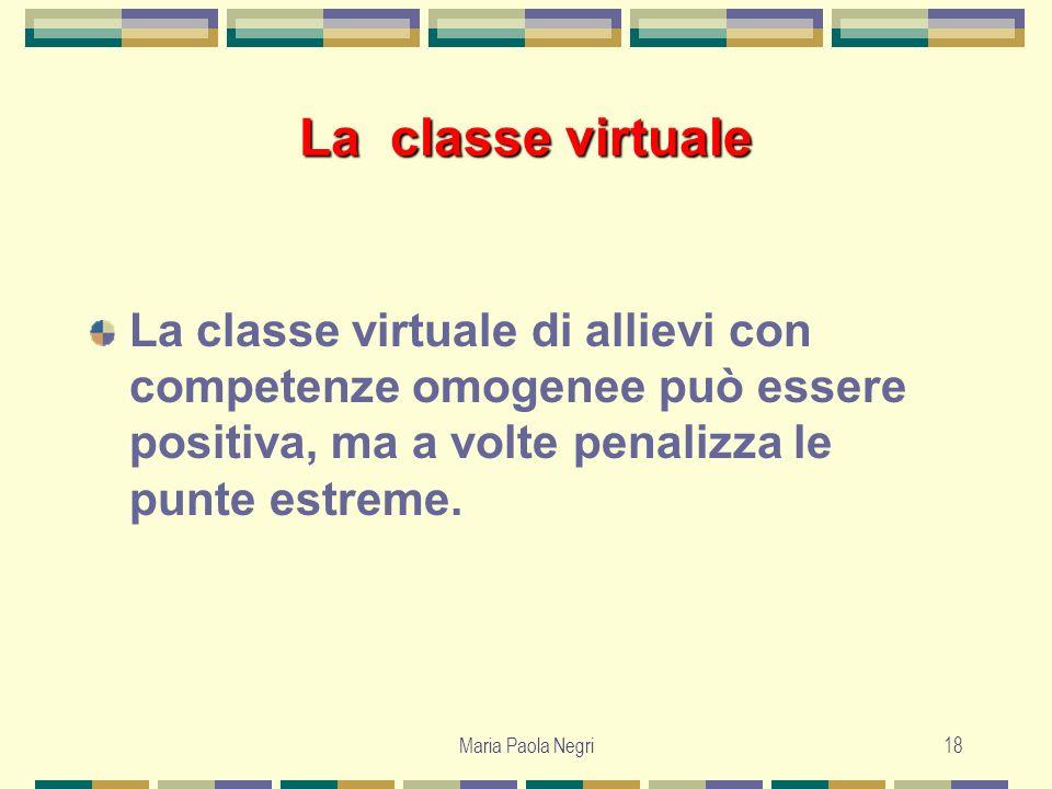 Maria Paola Negri18 La classe virtuale La classe virtuale di allievi con competenze omogenee può essere positiva, ma a volte penalizza le punte estrem