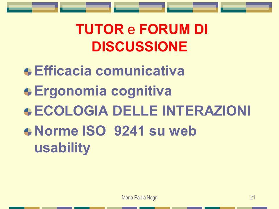Maria Paola Negri21 TUTOR e FORUM DI DISCUSSIONE Efficacia comunicativa Ergonomia cognitiva ECOLOGIA DELLE INTERAZIONI Norme ISO 9241 su web usability