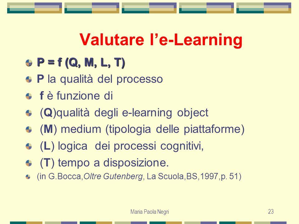 Maria Paola Negri23 Valutare le-Learning P = f (Q, M, L, T) P la qualità del processo f è funzione di (Q)qualità degli e-learning object (M) medium (t
