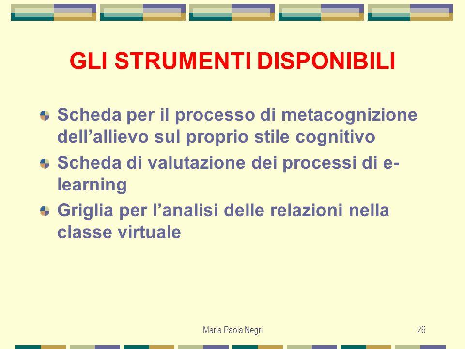 Maria Paola Negri26 GLI STRUMENTI DISPONIBILI Scheda per il processo di metacognizione dellallievo sul proprio stile cognitivo Scheda di valutazione d