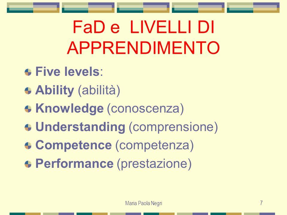 Maria Paola Negri7 FaD e LIVELLI DI APPRENDIMENTO Five levels: Ability (abilità) Knowledge (conoscenza) Understanding (comprensione) Competence (compe