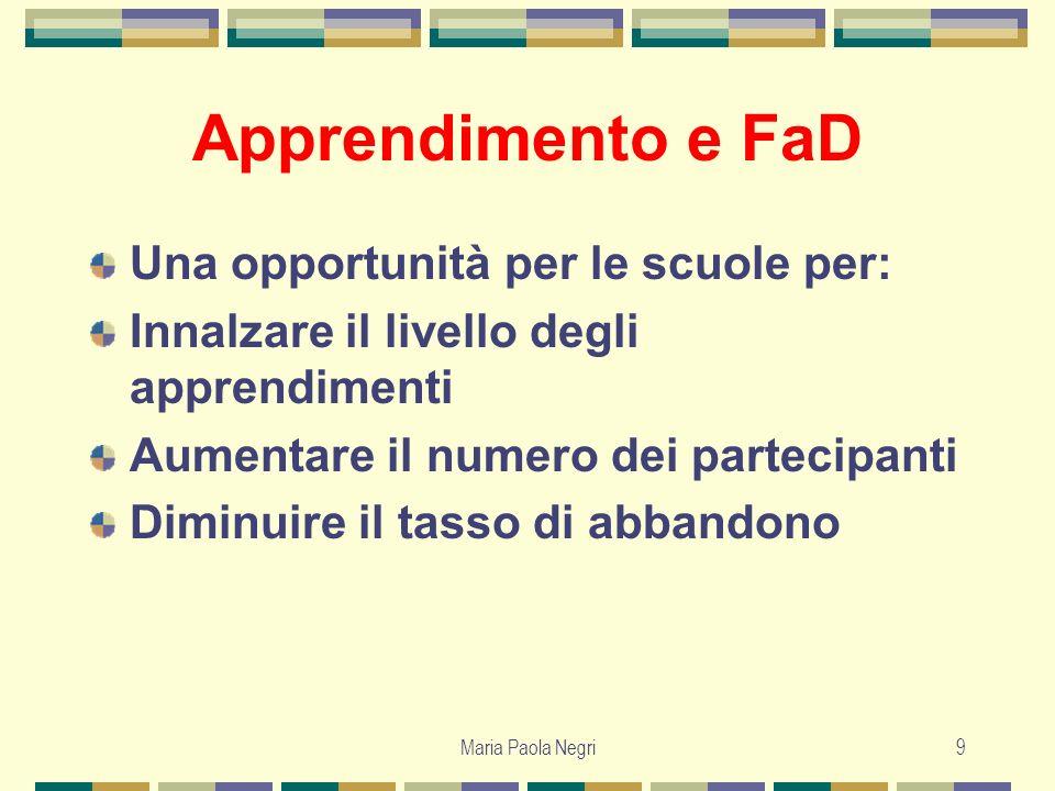 Maria Paola Negri9 Apprendimento e FaD Una opportunità per le scuole per: Innalzare il livello degli apprendimenti Aumentare il numero dei partecipant