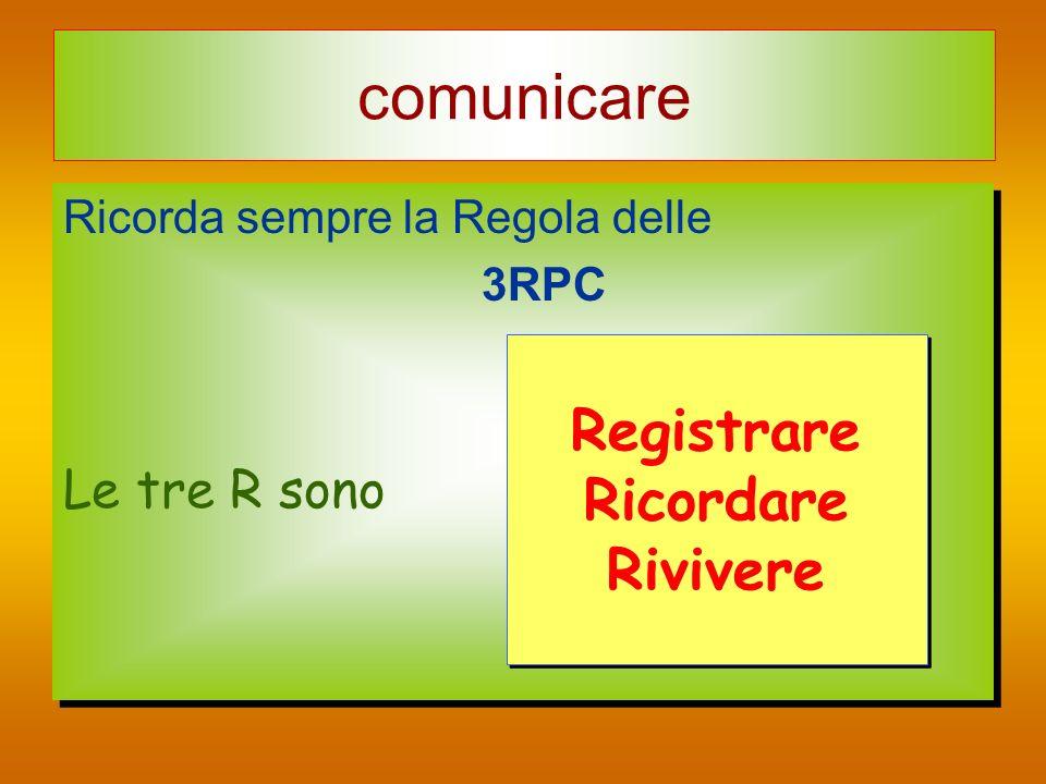 comunicare Ricorda sempre la Regola delle 3RPC Le tre R sono Ricorda sempre la Regola delle 3RPC Le tre R sono Registrare Ricordare Rivivere Registrar
