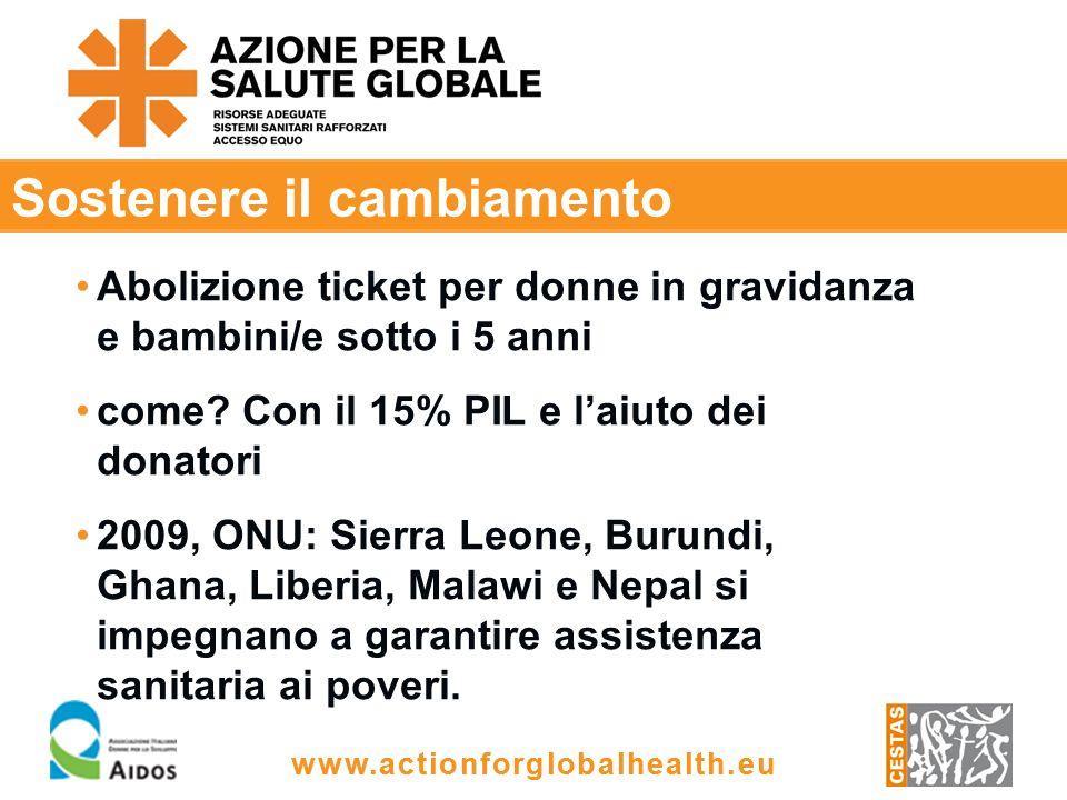 www.actionforglobalhealth.eu Sostenere il cambiamento Abolizione ticket per donne in gravidanza e bambini/e sotto i 5 anni come.