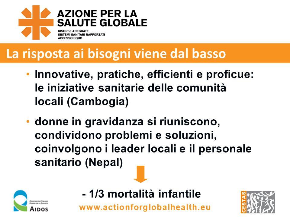 www.actionforglobalhealth.eu La risposta ai bisogni viene dal basso Innovative, pratiche, efficienti e proficue: le iniziative sanitarie delle comunità locali (Cambogia) donne in gravidanza si riuniscono, condividono problemi e soluzioni, coinvolgono i leader locali e il personale sanitario (Nepal) - 1/3 mortalità infantile