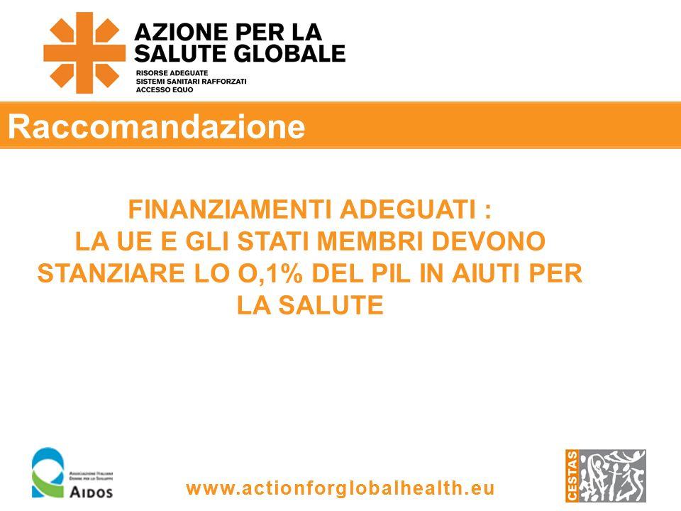 www.actionforglobalhealth.eu Raccomandazione FINANZIAMENTI ADEGUATI : LA UE E GLI STATI MEMBRI DEVONO STANZIARE LO O,1% DEL PIL IN AIUTI PER LA SALUTE
