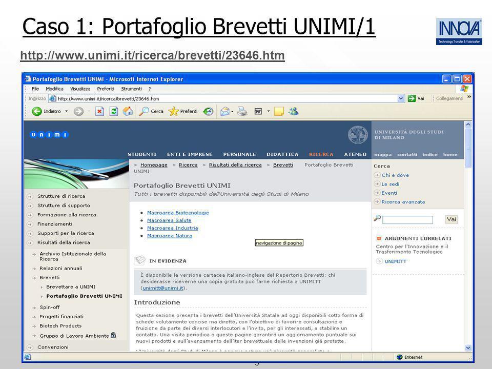 5 Caso 1: Portafoglio Brevetti UNIMI/1 http://www.unimi.it/ricerca/brevetti/23646.htm