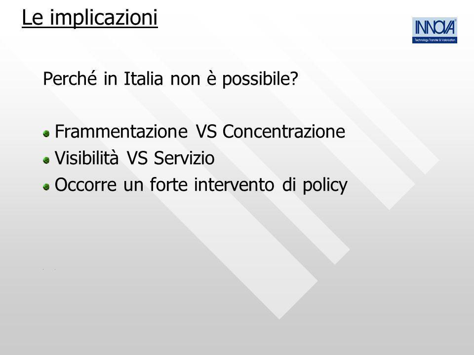 Perché in Italia non è possibile? Frammentazione VS Concentrazione Visibilità VS Servizio Occorre un forte intervento di policy. Le implicazioni